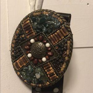 CAbi Brn Leather Belt with jewel  stone buckle.